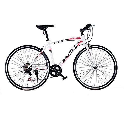 クロスバイク 自転車 軽快車 スピード 700C 7段変速 軽量高炭素鋼フレーム おしゃれ スタイリッシュ 適用身長155cm以上 初心者 街乗り 通勤 通学 ライトと鍵 入学 就職 お祝い RS-02 (ホワイト)