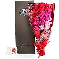 Yobansa 造花 石鹸の花 花束 ソープ フラワー 大切な人 へ 感謝 の 気持ち を 伝える 花束 ( 母の日 ・ バレンタイン ・ ホワイトデー ・ 入学 ・ 卒業 ・ 誕生日 ・ 結婚記念日 など 様々な お祝い の シーン に 最適, 33 本 (3色の赤)