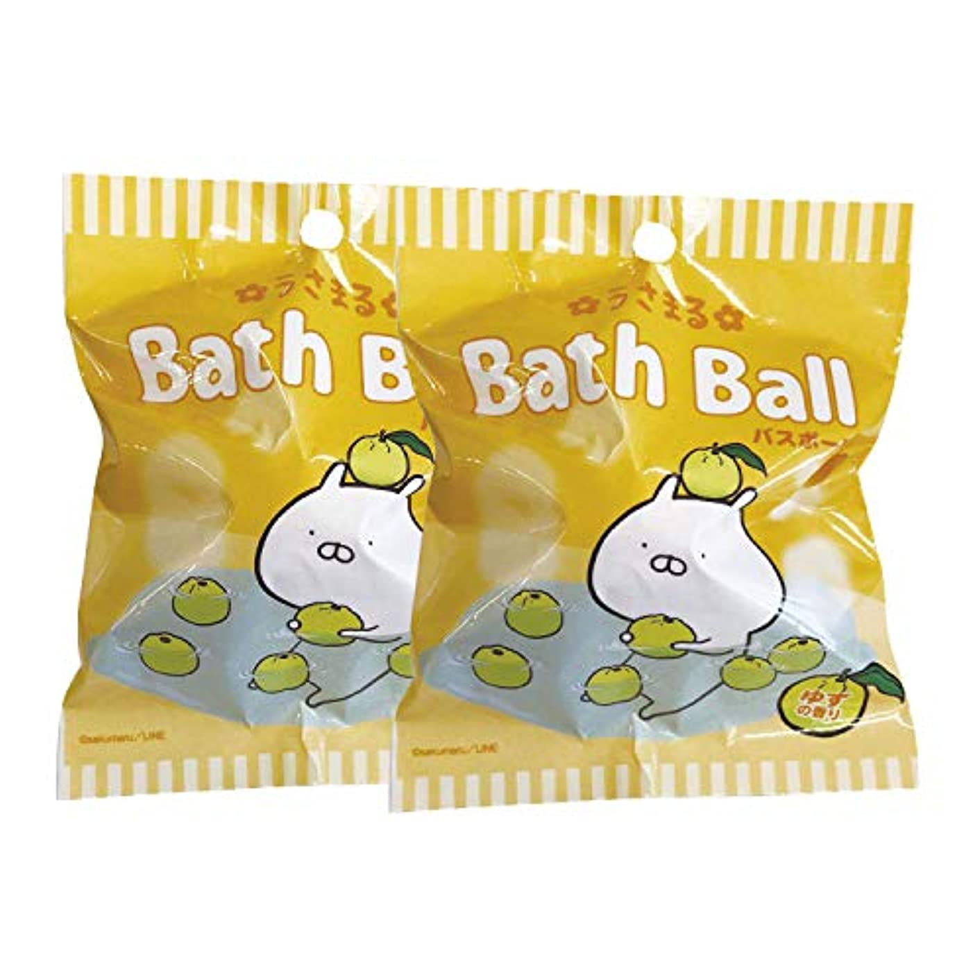 紳士状況量うさまる 入浴剤 バスボール 2個セット おまけ付き ゆずの香り 60g ABD-020-001
