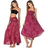 Salamola Women's Long Hippie Bohemian Skirt Gypsy Dress Bohemian 2 in 1 Printed Beach Dress Skirt Cover Up Female Bikini Wrap