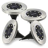 【改良版】Shome 4個セット32LEDのソーラーライト 光センサーで夜間自動点灯ライト 埋め込み式防水ライト 防犯ライト ガーデン、庭、芝生、公園に適うアウトドア用ライト【電球色】