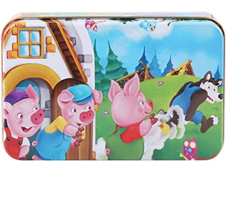 HuaQingPiJu-JP 高品質の木製教育パズルアーリーラーニング番号の形状色の動物のおもちゃ子供のための素晴らしいギフト(3匹の豚)