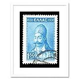 Georgios Karaiskakis Vintage Stamp Greece Framed Wall Art Print ビンテージ切手ギリシャ壁