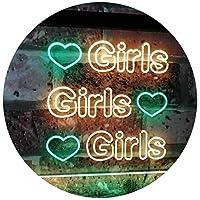 Girls Heart Bedroom Display Gift Dual Color LED看板 ネオンプレート サイン 標識 緑色 + 黄色 400 x 300mm st6s43-i2223-gy