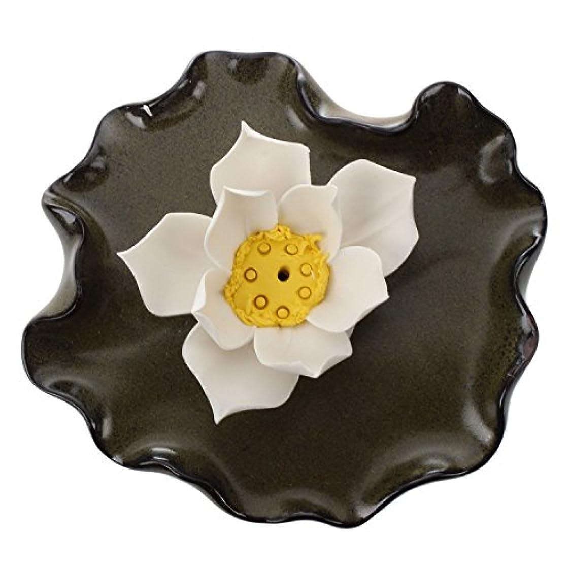 忌み嫌うファンブルデコレーションSODIAL (R) セラミックハンドメイドArtistic Incense Holder BurnerスティックコイルBuddhist Water Lilyプレート – 単一穴Lotus