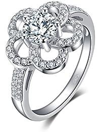 JewelryPalace 1.2ct フラワー キュービック ジルコニア CZ リング 花 スターリング シルバー925 指輪 桜 14号