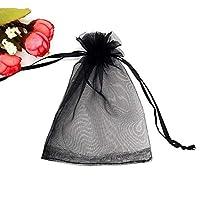 100透明収納袋 - プル/小さなギフトバッグ巾着、可能なオーガンジー生地/ソフトタッチ/複数のサイズで 無臭 (Color : Black, Size : 11*16CM)