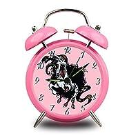 4 色ユニコーン時計アナログ、4インチメタルダブルベルクォーツアイデア電子アイピース時計、セットアイピース時計、バッテリータイプ、プレゼント、邪悪なユニコーン(粉末)