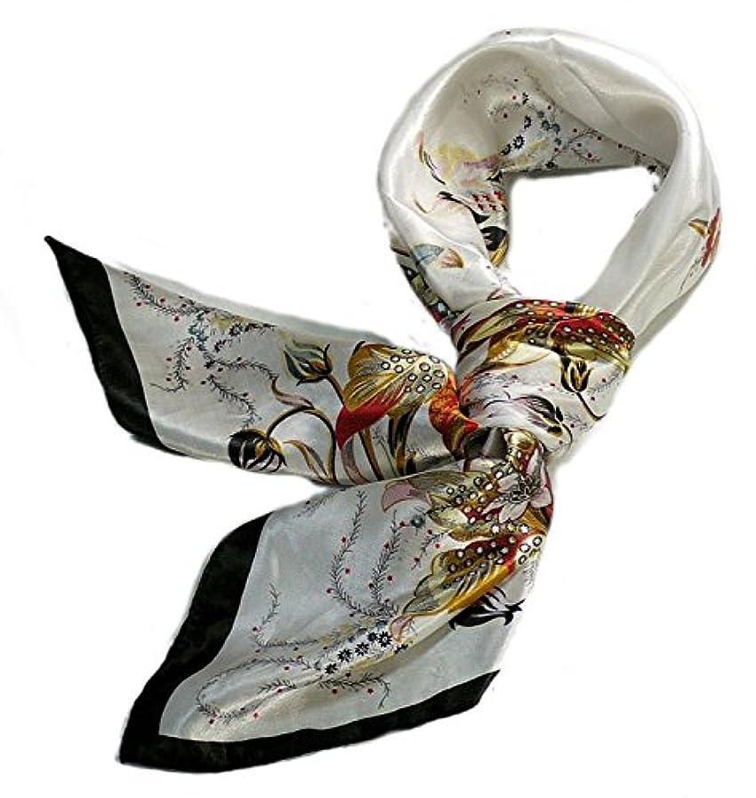 触手生産性口華麗な高級シルク調スカーフ 90角正方形大判レディース スカーフ 贈り物 ギフト人気な花柄 スカーフ