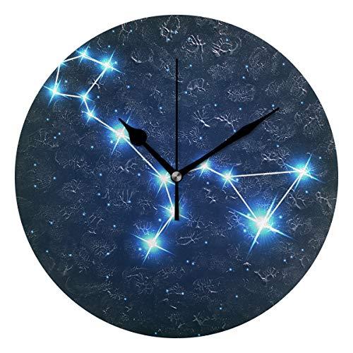 ユキオ(UKIO) 掛け時計 置き時計 壁掛け時計 室内 部屋装飾 壁時計 インテリア おしゃれ 北欧 くじら座 星座柄 ギフト 時計 アート 部屋 ウォールクロック 円型 かわいい
