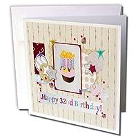 バースデーデザイン–コラージュの、星、カップケーキとキャンドル、幸せ32nd誕生日–グリーティングカード Individual Greeting Card