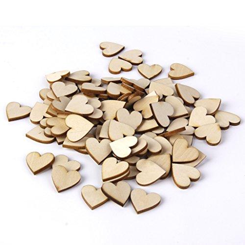 【ノーブランド品】人気木材チップ 結婚式 パーティー 撮影用 小物 カード 装飾 工芸品 DIY ハート 心臓の形