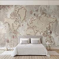 Lcymt カスタム3D写真の壁紙レトロな世界地図壁画リビングルームの研究年長者の寝室の背景壁の壁画家の装飾-120X100Cm
