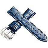 パネライ向け イタリアンレザー クロコ 本革 時計 ベルト ブルー アイボリーステッチ 22mm