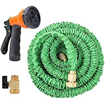 Ohuhu 30M Expandable Garden Hose, GreenExpandable Garden Hose, 100 Feet Expanding Hose, 100 ft Flexible Water Hose with 3/4 Solid All Brass Fittings Connector & 8 Function High Pressure Spray