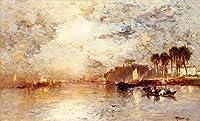 手描き-キャンバスの油絵 - On the St Johns River Florida シービューペインティング RSSP2 Thomas Moran 芸術 作品 洋画 ウォールアートデコレーション -サイズ14