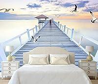 Bzbhart カスタム3dステレオスコピックミニマリスト現代壁紙部屋背景壁壁画契約夜海橋カモメ壁紙-350cmx245cm