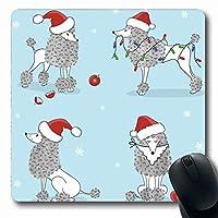 マウスパッド赤かわいいプードルメリークリスマスハッピープレゼント休日キャラクター陽気なクラウスコミックデザイン長方形7.9 X 9.5インチ滑り止めゲーミングマウスパッドラバー長方形マット