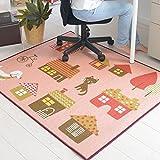 なかね家具 デスクカーペット 女の子 ラグマット 洗える デザインマット 犬柄 ホットカーペット対応 110x133 ピンク 173house