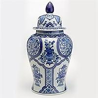 Tozaiホームブルー&ホワイト花柄コラージュLarge Covered Temple Jar