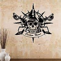 Wuyyii 海賊パターンの壁のステッカー自己粘着性のあるビニールの防水壁のアートデカール取り外し可能な壁のステッカーDiyの名前ホーム