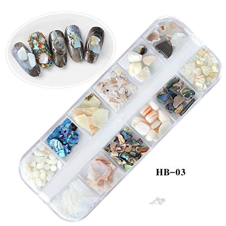 乳剤行列慣らすTianmey 天然貝殻3DチャームネイルアートデコレーションスライスDIYビューティーサロンオーシャンネイルアートパウダーマニキュアデカールツール (Color : HB03)