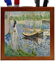 Rikki Knight Claude Monet Art His Embankment at Argenteuil Design 5-Inch Wooden Tile Pen Holder (RK-PH3511) [並行輸入品]