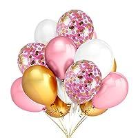 12pcs 12インチゴールド&ピンク紙吹雪バルーンと30pcsゴールド&ピンク&ホワイト色ラテックスバルーンパーティーのベビーシャワー、卒業式お祝いパーティーDecoration Supplies