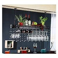 逆さまのホームゴブレットラックヨーロッパ鉄ワイングラスラックバーワインラックワインキャビネット装飾ハンガー装飾(色:黒、サイズ:80 * 25 cm)