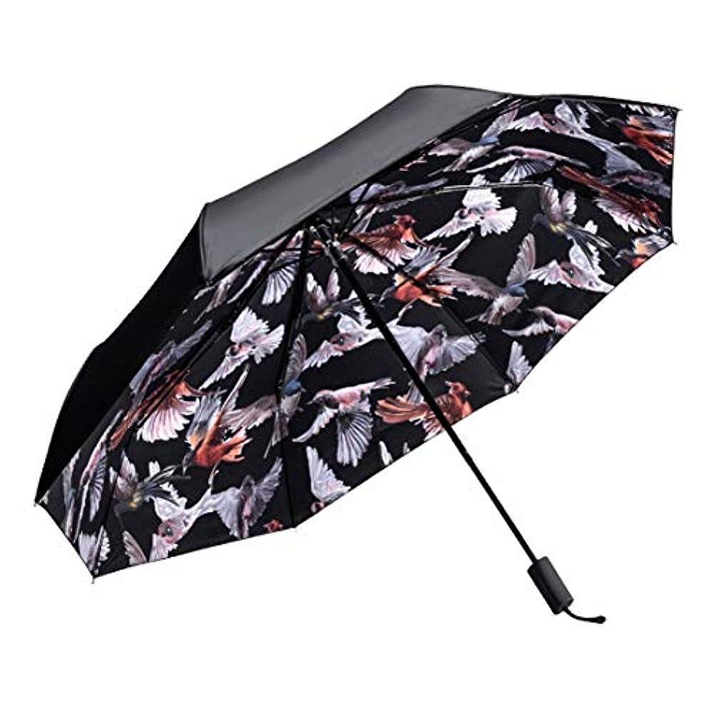 ペイントを除く薬用HOHYLLYA 三折りたたみ旅行傘鳥パターン女性の紫外線保護日傘防風防水傘ポータブル旅行傘 sunshade (色 : 黒)