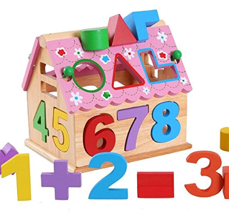 HuaQingPiJu-JP 子供のためのクリエイティブ木製の形状のソーター幾何学的な並べ替えの家庭教育形状色認識玩具