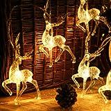 Australove Reindeer Fairy Lights, Deer LED String Light, Christmas LED Lights Fairy Lights, Battery Operated Reindeer Interio