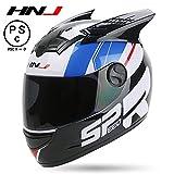 HNJ バイクヘルメット フルフェイス 男女共用ヘルメット 多色選択可能 春、秋、冬「PSCマーク付き」角付き (黒角1)