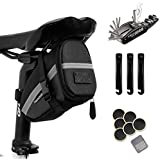 Hommie Bike Repair Tool Kits, 16-in-1 Bicycle Saddle Bag with Repair Set, Mechanic Portable Tyre Tools Set Bag with Reflective Strip