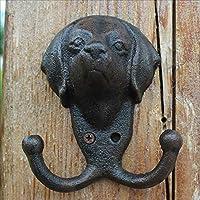 LRW ヨーロッパフックレトロ鋳鉄フック壁壁掛け吊り吊りフック飾りフック家庭装飾犬の頭