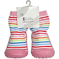 ES Kids Rubber Soled Socks - Pink Rainbow 6-12mth, Pink