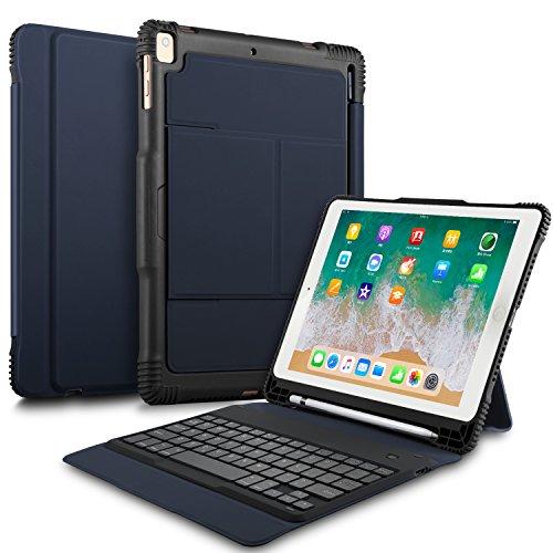 ELTD ipad 9.7 2018/2017/iPad air/iPad air 2/iPad pro 9.7 ケースキーボード iPad air (Model A1474/A1475/A1476)/ iPad air 2(Model A1566/A1567)/ iPad pro 9.7(ModelA1673/A1674/A1675)/iPad 9.7 2017(ModelA1822/A1823)/ ipad 9.7 2018(A1893/A1954)キーボードカバー 手帳型pencil収納 高級PUレザーケース オートスリープ機能付き ネイビィー