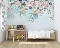 Ansyny リビングルームのソファの背景の壁の3D壁紙手描きの小さな新鮮なバラの壁紙-420X280cm