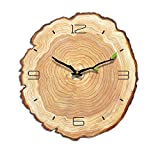 VANCORE 掛け時計 壁掛け 静音 時計 サイレント 木製 部屋 インテリア 壁掛け時計 静音 連続秒針 部屋飾り 掛けフック付き 年輪2 M