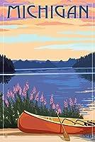 ミシガン州–カヌー、湖 9 x 12 Art Print LANT-68985-9x12