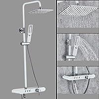 壁掛けシャワーシステム、2モードハンドシャワー付き、降雨量シャワーヘッド、節水型現代真鍮ボディクロームレインシャワーセット,A