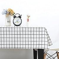[テンカ]テーブルクロス 綿麻 北欧 テーブルマット チェック柄 おしゃれ 簡約 撥水 厚手 テーブルカバー 防塵 耐熱 120 * 170cm