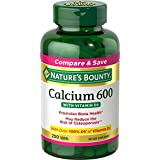 Nature's Bounty Calcium Carbonate and Vitamin D3 Mineral Supplement, Supports Bone Strength and Health, 600mg, 250 Tablets