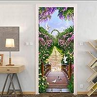 Ansyny 3Dドアステッカー壁の壁画アート美しい花の壁紙ステッカー自己接着取り外し可能な壁紙紙ホームドアデカール