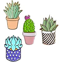 Niome 4pcs Women Children Cactus Lotus Flower Grass Aloe Vera Potted Badge Corsage Collar Clothes Bags Brooch Label Pins