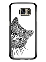 Cute Tribal Pattern Cat Illustration in Black and White Samsung Galaxy S7 Edge 用 カバー ケース サムソン ギャラクシー