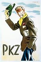 PKZヴィンテージポスター(アーティスト: Barberis )スイスC。1948 9 x 12 Art Print LANT-59342-9x12