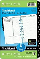 day timer daily planner refill 2018 two page per day loose leaf 5 1