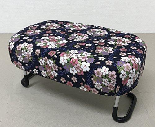 コンパクト正座椅子 大 折り畳み式(柄) (桜ブーケ紺色調)
