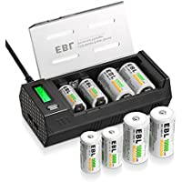 EBL充電池充電器セット 単一単二単三単四9V対応ニッケル水素ニカド充電池急速専用充電器 2 USB (1.0A*2)+単一(10000mAh)充電池*4+単二(5000mAh)電池*4